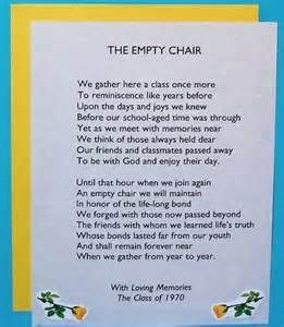 Have empty chair w/ photo of lost classmate, classmates sign/write in book of memory, invite parent and give to them