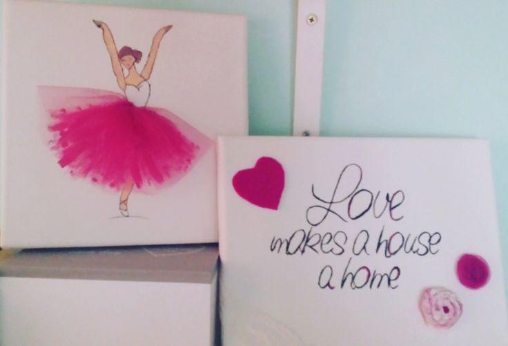 Ballerina wall art, pink tutu. Girls room decor. by NanaStudioByDani on Etsy