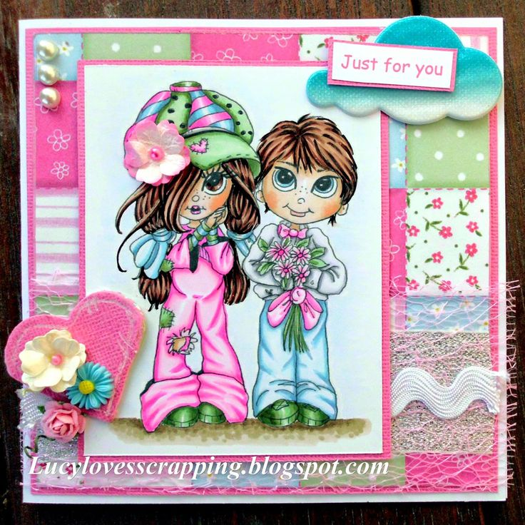 Lucy loves scrapping: Boy loves Girl card (Lacy Sunshine image)