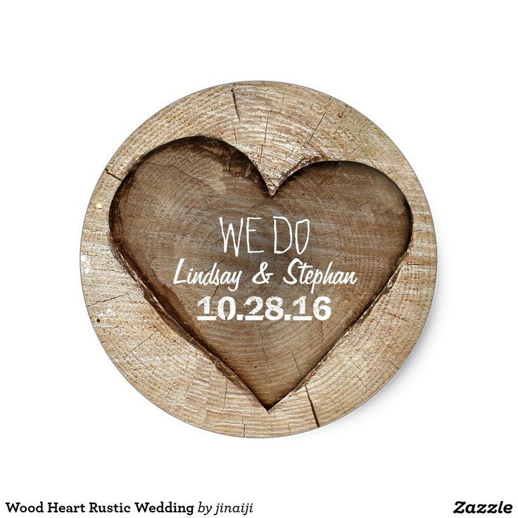 monogram wedding envelope seals sticker%0A Wood Heart Rustic Wedding Classic Round Sticker