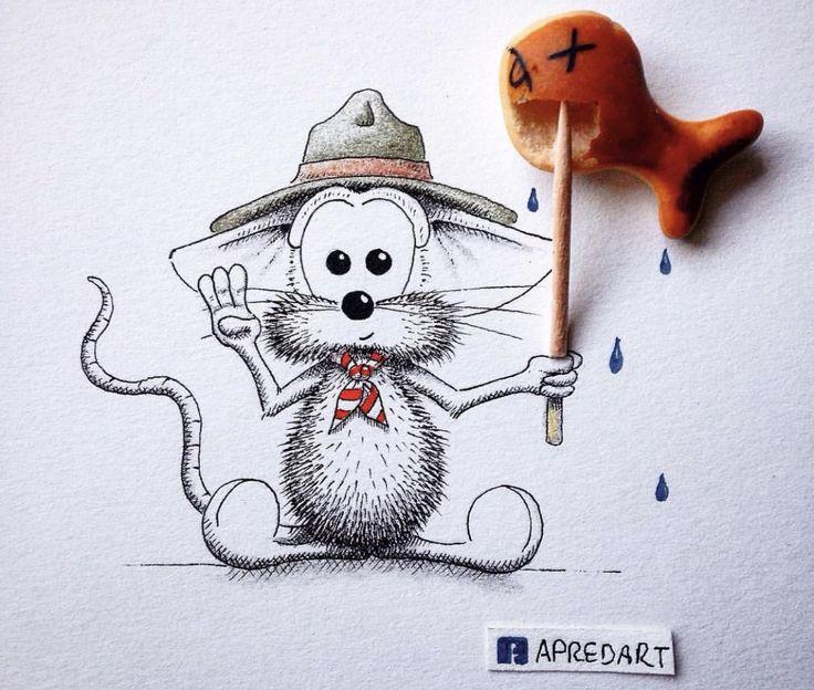 Надписями, рисунки смешного мышонка