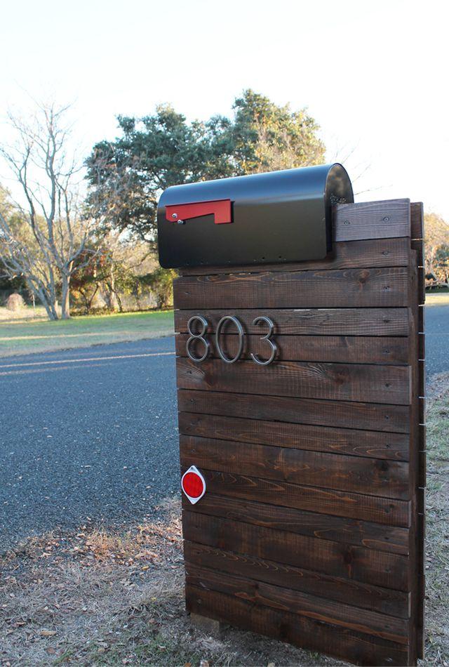 Cinsarah: Our New DIY Mailbox Modern Mailbox, Planked Wood