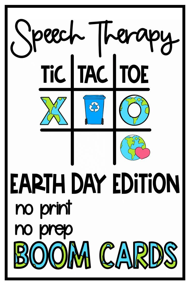 Earth Day Tic Tac Toe Boom Card Games | Speech Therapy | Articulation & Language