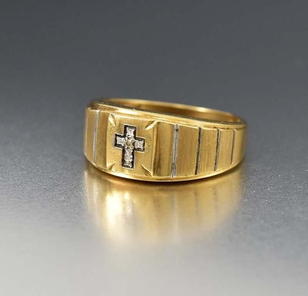 Art Deco 10k Gold Mens Ring With Diamond Cross Art Deco Diamond Rings Rings For Men Antique Jewellery Online