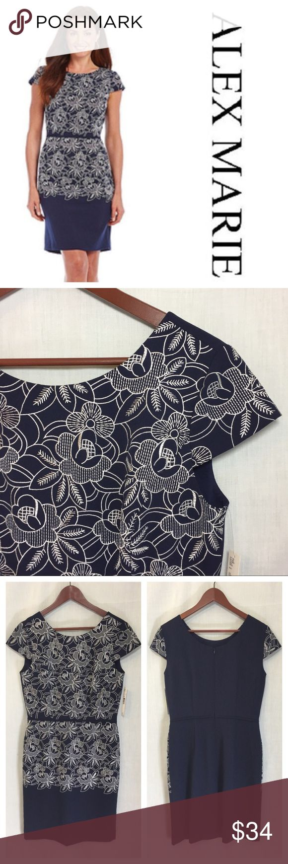 """Alex Marie Embroidered Floral Emily Crepe Dress Alex Marie Embroidered Floral Emily Crepe Dress NWT Navy Blue  • Sz 8 • 95% polyester 5% spandex shell • Fully lined • Back invisible zipper with hook and eye closure • Cap sleeves • Navy blue background with white floral flower leave embroidery • Defined waist (15.5"""" Measured flat) • 19.5"""" bust (measured flat) • 16"""" shoulders to waist • 38"""" total length • Dillard's • $139 Alex Marie Dresses"""