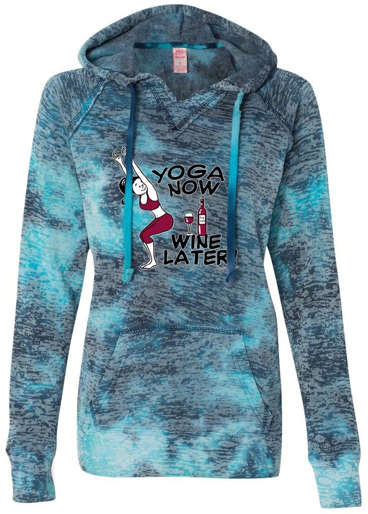 "Ladies YOGA NOW WINE LATER V-Hoodie, XL Bahama Blue. Get your priorities in order with this cool, lightweight burnout hoody!. A mix of color, blended with burnout, take this pullover to new heights. Lightweight Cotton/Poly blend. Front pouch pockets and raw edge seams. Modern ""burnout"" style. ""Yoga Clothing for You"" guarantees your satisfaction on every purchase!."