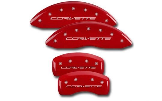 Powdercoated Logo Brake Caliper Cover Set for C7 Corvette Stingray    Give your C7 Corvette Stingray's brake calipers a custom look with these powdercoated caliper covers. Choose from two different GM licensed logos and three different color options above.