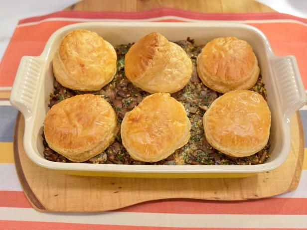 Beef Wellington casserole. Maybe after baking, hollow out the puff pastry, and fill with beef mixture