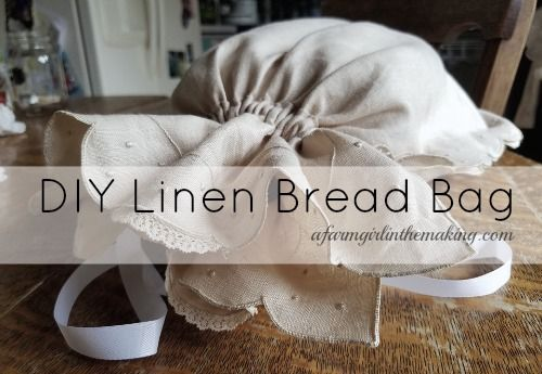 DIY LINEN BREAD BAG to help store homemade bread longer. afarmgirlinthemaking.com