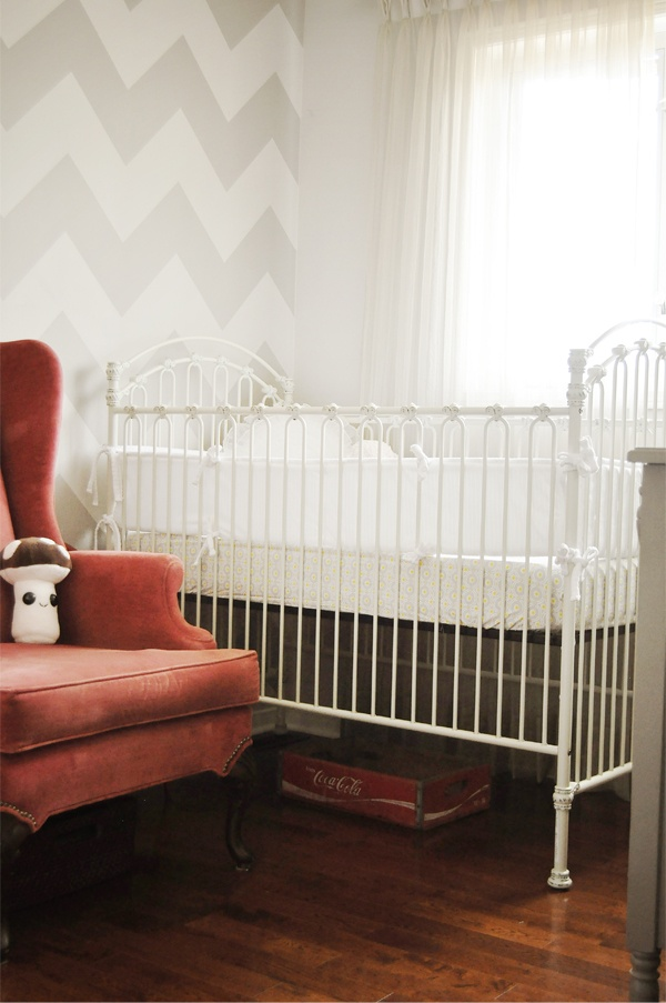 Vintage baby boy nursery with an amazing chevron accent wall!