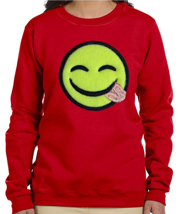 Red Women Savouring Delicious Food Smiling Face Emoji Sweatshirt. Make a Hot Fashion Statement with ourRed Emoji Sweatshirt. A Great Buy for joggers. Can be paired with jeans for a nice casual outfit. Sweatshirt is embellished with a fleece savouring delicious food smiling face emoji applique embroidery design. Emoji art supplied by EmojiOne Sweatshirt = 50% cotton, 50% polyester; Pill resistant; Has double needle stitching; Has 1X1 ribbed collar, cuffs and waistband. Recommended Care…