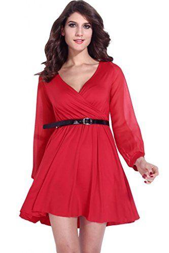 Dear-Lover Women's Wrapped Neck Skater Dress with Belt One Size Red Dear-Lover http://www.amazon.com/dp/B00LL1VP2Y/ref=cm_sw_r_pi_dp_LNfAwb1QSNTXZ