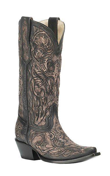 Corral Boot Company Women's Black Floral Embossed Western Snip Toe Boots | Cavender's
