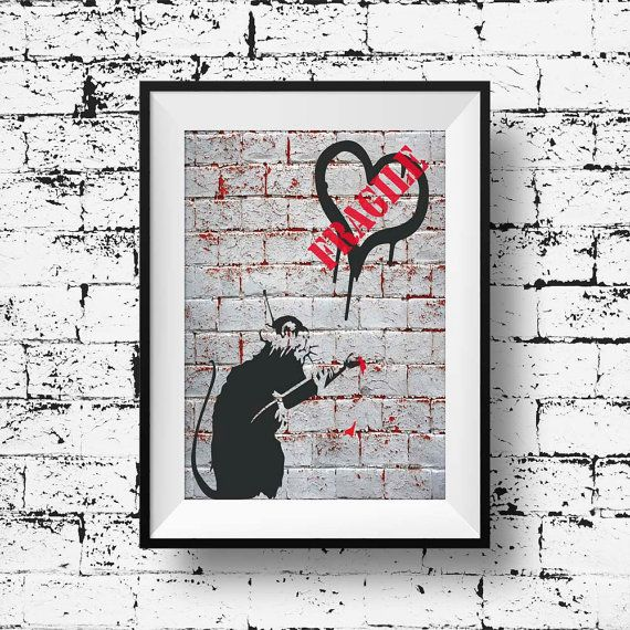 Banksy rat print modern art graffiti poster wall by BelugaStore