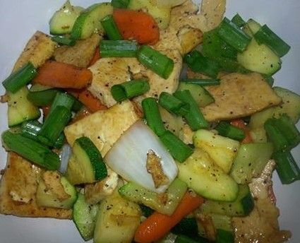 ... tofu marinaded in Bragg Liquid Aminos and Dried Mushroom Seasoning and