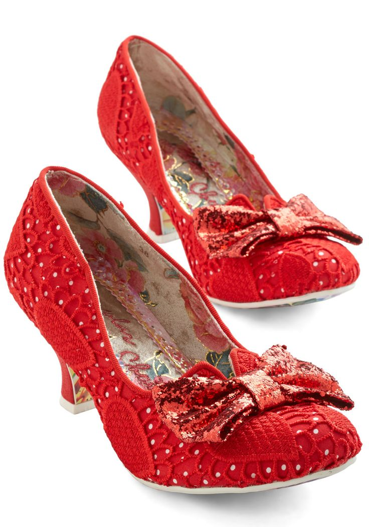Flame and Fortune Heel. Your love for these fiery red heels by Irregular Choice isnt just a fling! #red #modcloth