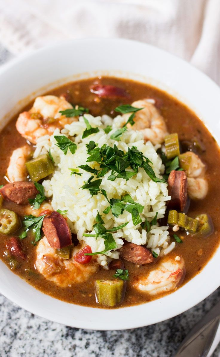 Shrimp, Andouille, and Okra Gumbo | Recipe | Okra Gumbo, Gumbo and ...