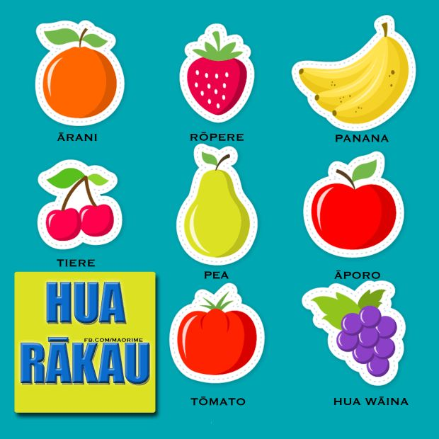 Maori language resources Fruit : Hua rākau