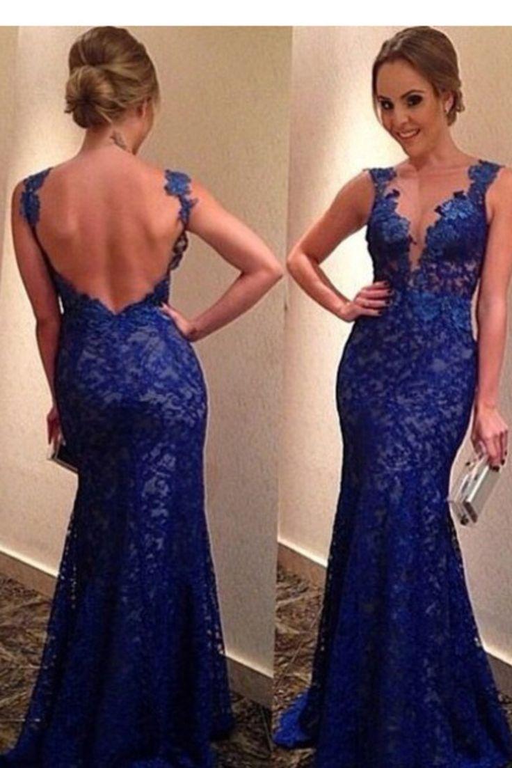 2015 Evening Dresses Bateau Mermaid With Deep V Shape Back Lace&Tulle USD 169.99 EPPC71JAPN - ElleProm.com