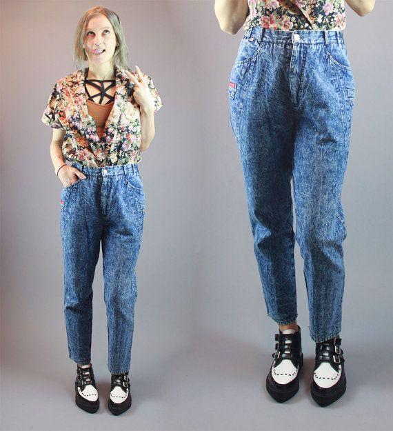 Vintage 80s Jeans Denim Wash Denim Ankle by BadassVintageRevival