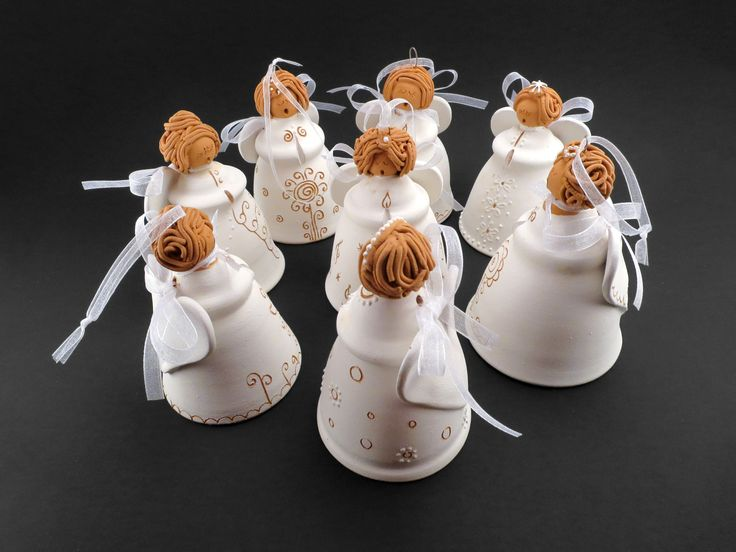 Ceramic Angel Bell Choir with traditional Hungarian embroidery patterns - Ildikó Károlyi