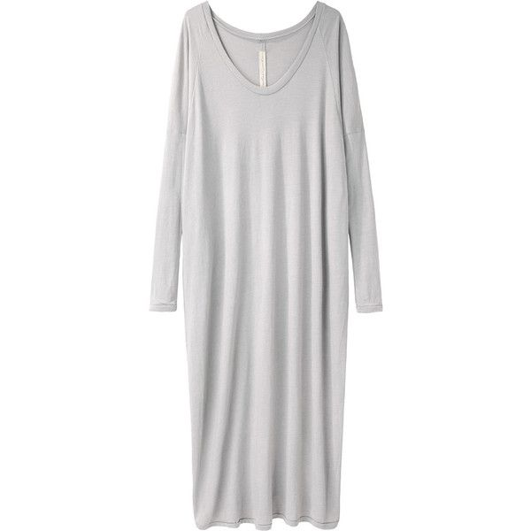 Raquel Allegra Deconstructed Jersey Dress (€120) ❤ liked on Polyvore featuring dresses, gray long dress, scoop neck dress, long dresses, scoop neck long dress and slouchy dress