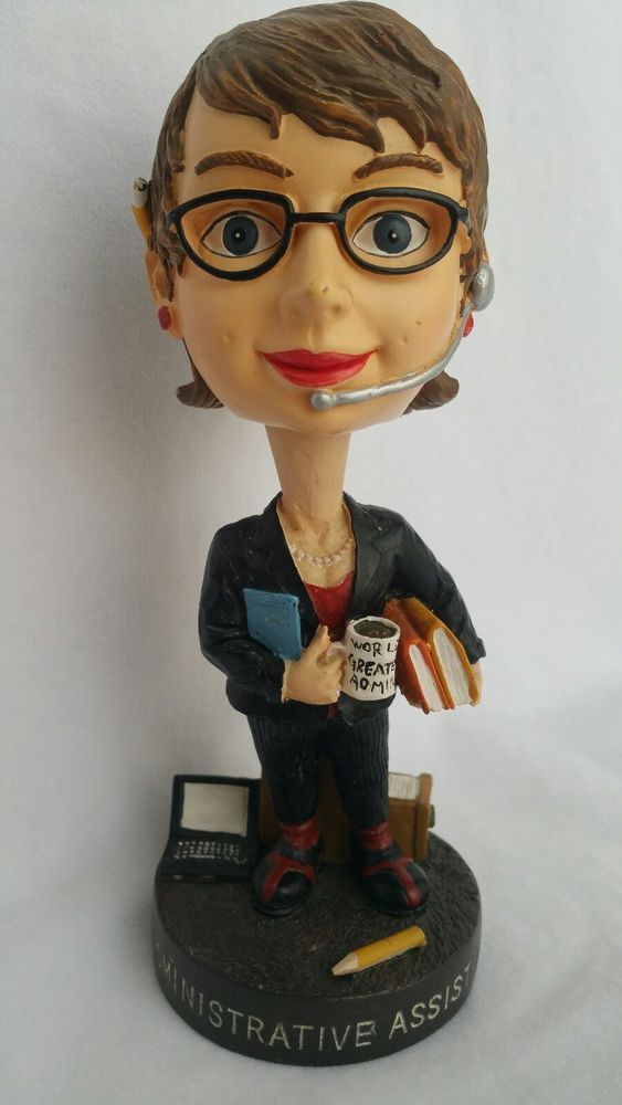 Administrative Assistant Bobble Head Office Woman Black Dress Suit and Glasses #Wobblehead