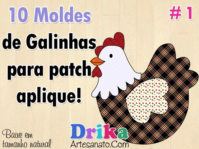 10 Moldes de Galinhas e Galos para Patch Aplique