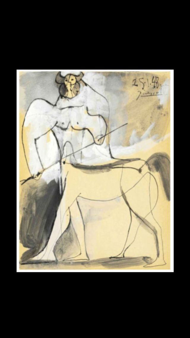 """Pablo Picasso -"""" Minotaure """", 25 I 1948 - Gouache, pen and India ink and brush and gray wash on paper - 27 x 21 cm (*) (..)"""