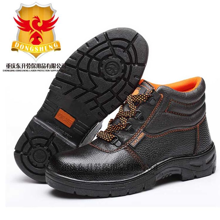 Black cheap steel toe and midsole work safety boot