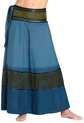 dc79a3d4351703 ufash Wickelrock Batik Goa Gipsy - Bunter Maxi Rock lang aus Indien mit  Bändern Blau 7