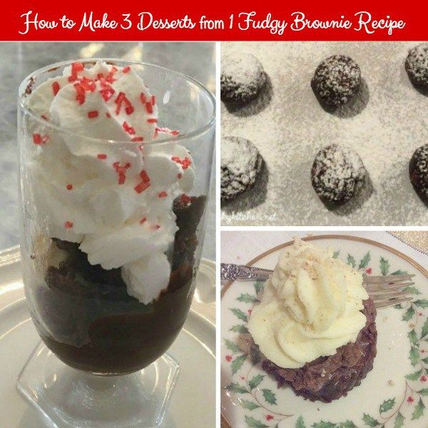 How to Make 3 Desserts from 1 Fudgy Brownie Recipe shows how versatile one brownie recipe can be made into 3 distinct and delicious desserts.