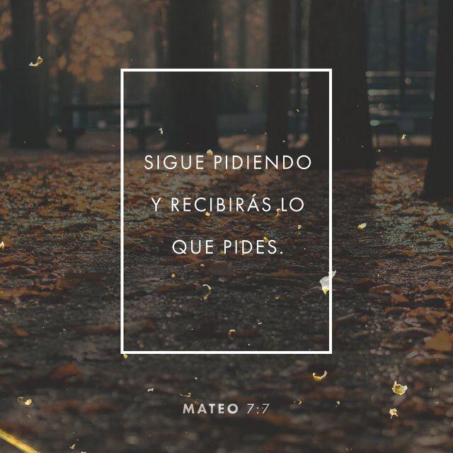 """""""»Pidan a Dios, y él les dará. Hablen con Dios, y encontrarán lo que buscan. Llámenlo, y él los atenderá."""" San Mateo 7:7 """