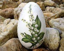 Huevo blanco de gallina Madeira mano decorado huevos de Pascua pintados con Decoupage