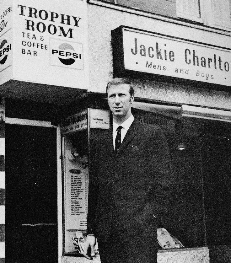 Circa 1970. Jack Charlton outside the leisure wear shop he ran in Leeds.