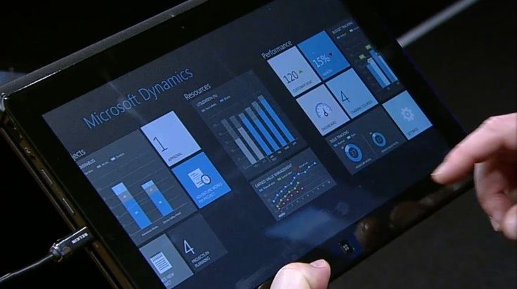 Project management application with Metro UI at #CONV12 keynote, running on Windows 8 slate #Win8