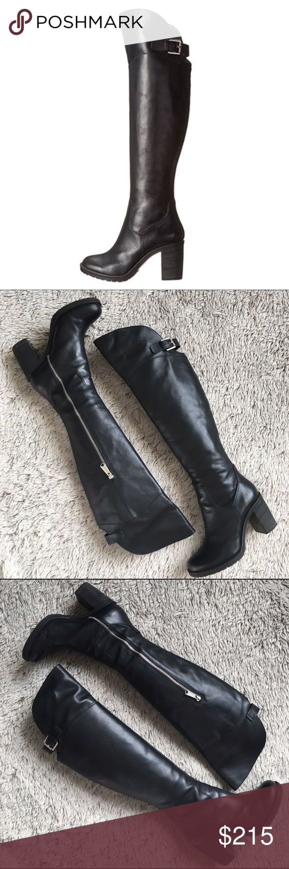 """❤️HP❤️Donald J Pliner Over the Knee Leather Boots Donald J. Pliner 'Taria' true over-the-knee boots in soft black leather. Buckle straps on the back of the upper shaft w partial inner side zips. Lug soles w 3"""" stacked heel. Shaft is approx 21"""" from the arch. Boot opening measures at approx 14"""" around. Very comfy to walk in. Only worn a few times and in excellent condition. Kept in original box/packaging. Only flaw is seen in last pic. A tiny knick on the front right sole, can't even notice…"""