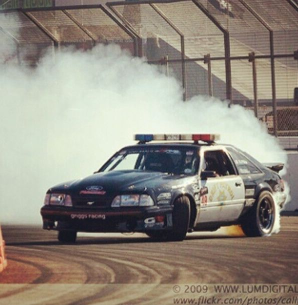 foxbody drift car police mustang