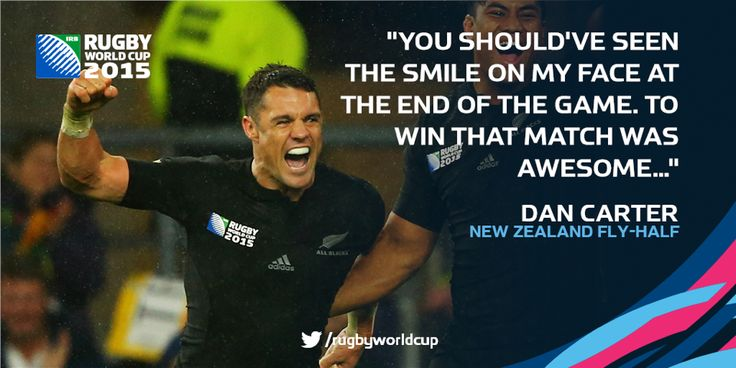 Dan Carter  after 20 - 18 win; Rugby World Cup 2015 Semi-Finals. All Blacks NZ vs. Springboks RSA