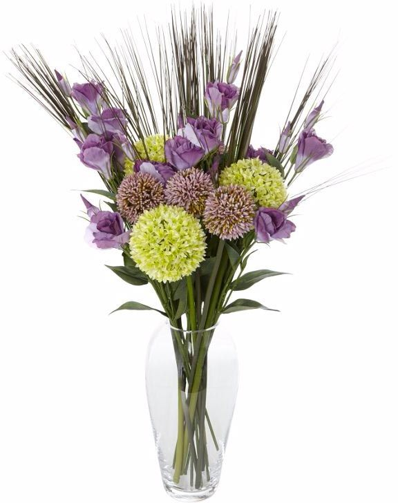 Allium artificial flowers display with grass cluster stems.