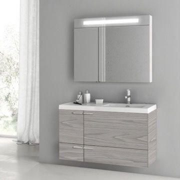 39 Inch Grey Walnut Bathroom Vanity with Fitted Ceramic ...