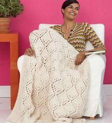 Knit Lace Afghan::::::looking for a soft and luxurious afghan? Use this free knitting pattern to cover up on chilly nights. The creamy color will certainly look great against a dark couch.  Intermediate