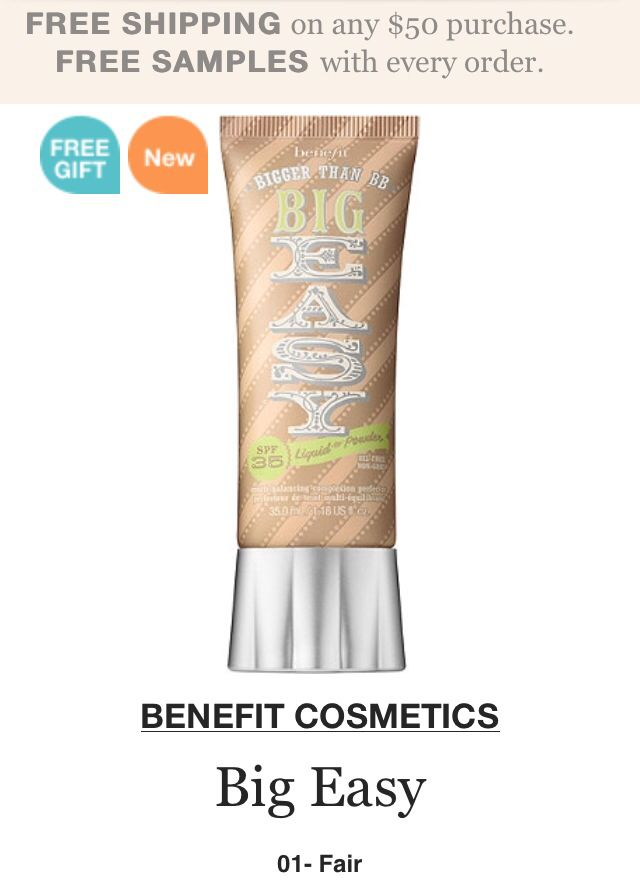 Benefit BB Cream- I love this! My bf's sister just introduced me last weekend and I'm hooked.