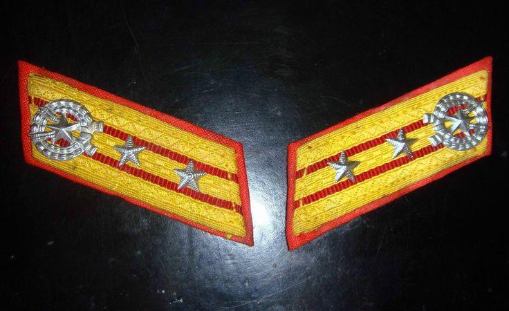 north korea korean dprk army officer original rare uniform rank collar tabs