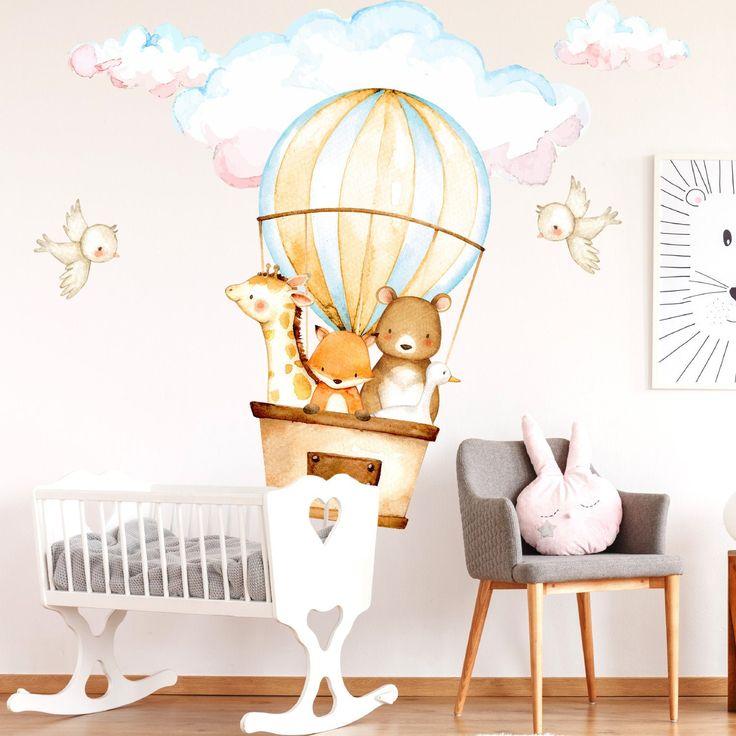Baby Animals Nursery Decals | Air Balloon Wall Decals | Bear | Fox | Giraffe | Duck | Birds | Wall Decor | Wall Murals | Free Shipping