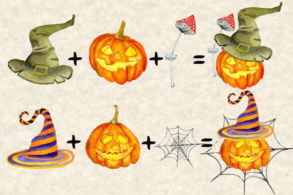 Halloween Creation Kit Happy Halloween watercolor clipart ...