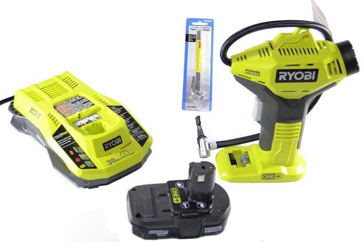 Ryobi P737 18-Volt ONE+ Power Inflator with Charger, Lithium-ion battery and Pittsburgh Automotive Pencil Tire Gauge (Bundle)