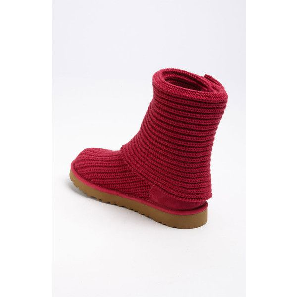 Women's Ugg 'Cardy' Classic Knit Boot ($105) ❤ liked on Polyvore featuring shoes, boots, ankle booties, ankle boots, bootie boots, slouchy booties, ugg australia boots, slouch ankle boots and fold over ankle boots