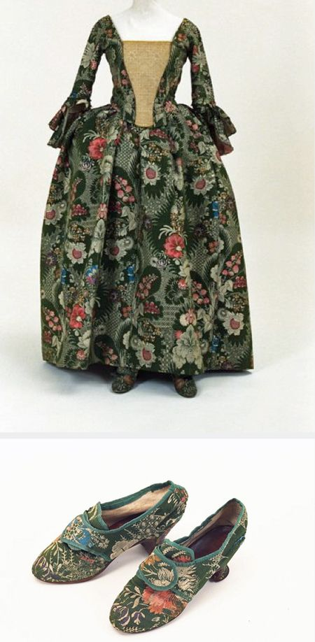 Gown and matching shoes, 1760. Bunka Gakuen Costume Museum. image of dress shown in museum newsletter 1991 http://museum.bunka.ac.jp/wp/wp-content/uploads/2013/07/newsletter_1991.pdf