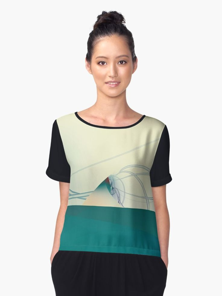 A Day of Sail Boat Racing Chiffon Tops by Terrella.  An abstract fractal image which looks like sail boats racing through big waves. • Also buy this artwork on apparel, phone cases, home decor, and more.